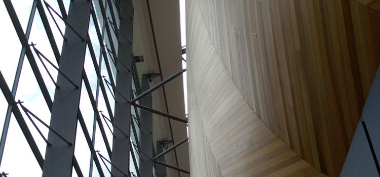 Looking up the Curtain Wall on North side of Concert Hall