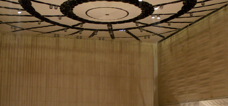 Fabric ceiling and cast stone walls in Concert Hall